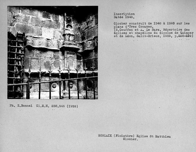 Inscription sur le clocher