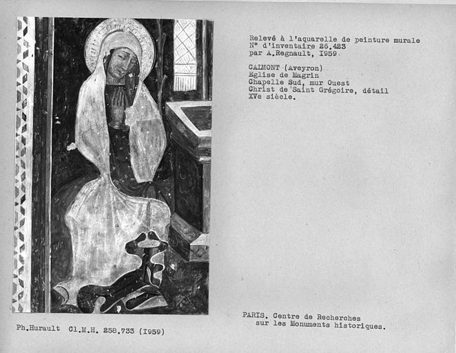 Relevé du Christ de Saint-Grégoire : Vierge