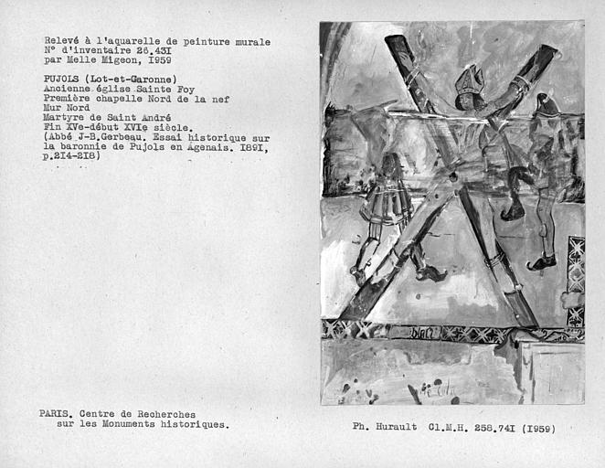 Relevé du mur nord de la première chapelle nord de la nef : Martyre de Saint-André