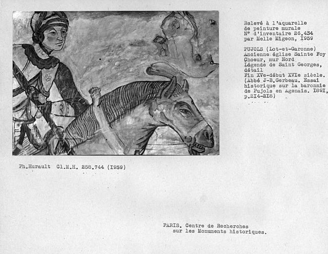 Relevé du mur nord du choeur : détail de Saint-Georges