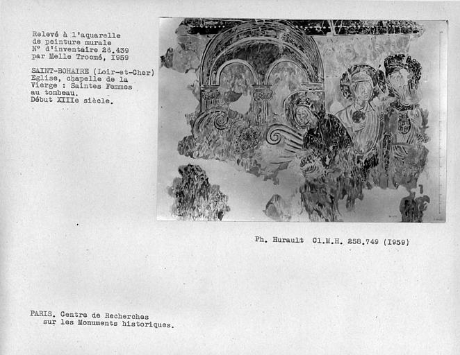 Relevé de la chapelle de la Vierge : Saintes-Femmes au tombeau