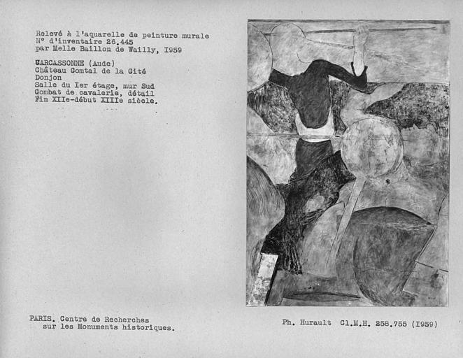 Relevé du mur sud du donjon : combat de cavalerie