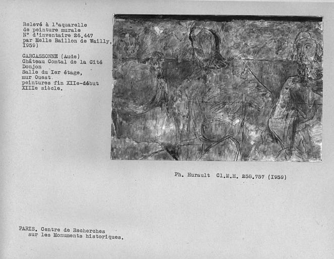 Relevé du mur ouest du donjon : 3 Personnages