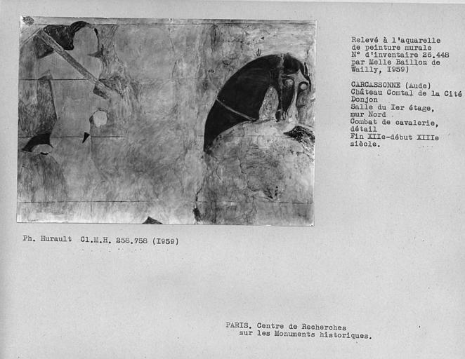 Relevé du mur nord du donjon : combat de cavalerie