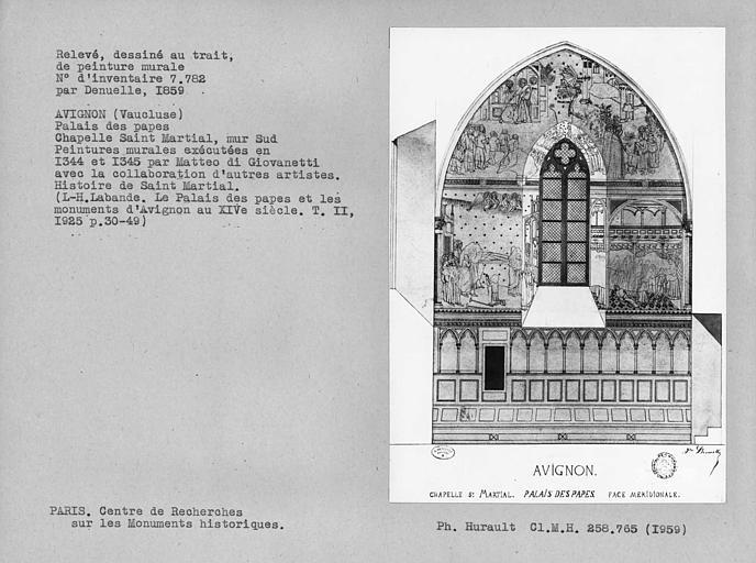 Relevé du mur sud de la chapelle Saint-Marcial
