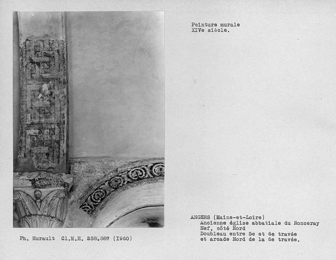 Peintures murales décoratives de l'arc doubleau entre cinquièmeet 6ème travées côté nord et l'intrados et arcade nord de la 6ème travée de la nef