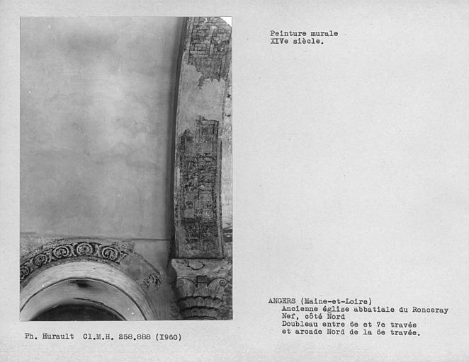 Peintures murales décoratives de l'arc doubleau entre 6ème et 7ème travées côté nord et l'intrados et arcade nord de la 6ème travée de la nef