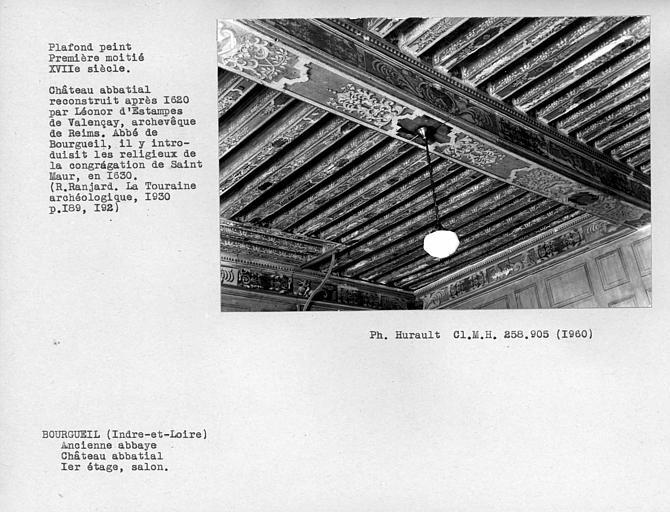 Salon au premier étage, vue d'ensemble du plafond peint