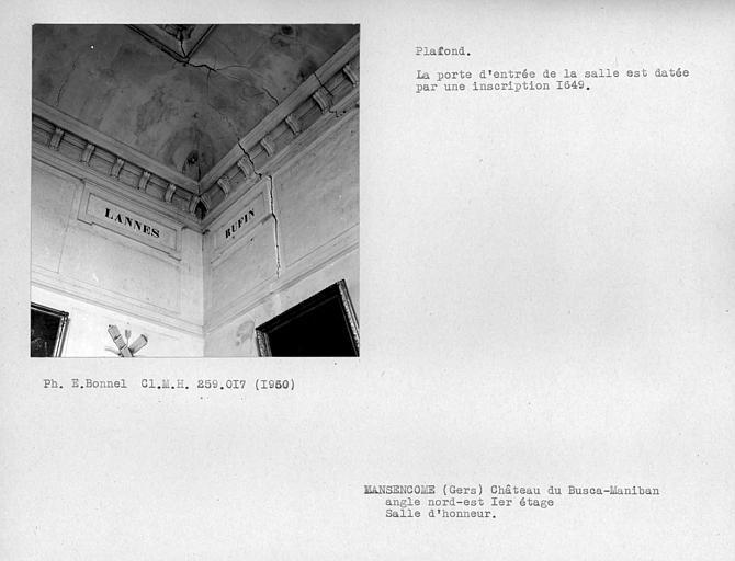 Plafond à l'angle sud-ouest de la salle d'honneur, premier étage