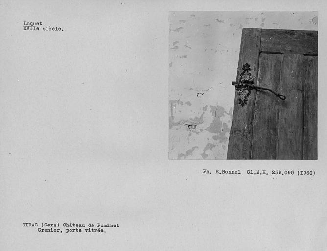 Loquet de la porte vitrée du grenier
