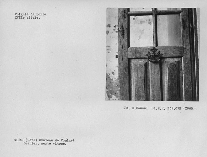 Poignée de la porte vitrée du grenier