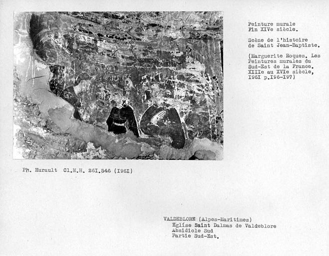 Partie sud-est du mur de l'absidiole sud, scène de la vie de Saint-Jean-Baptiste