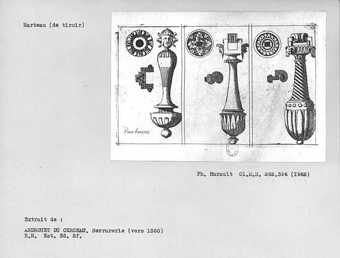 Dessin de marteaux pour tiroirs