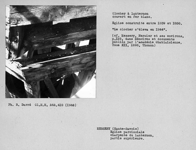 Charpente du lanternon du clocher couvert en fer blanc