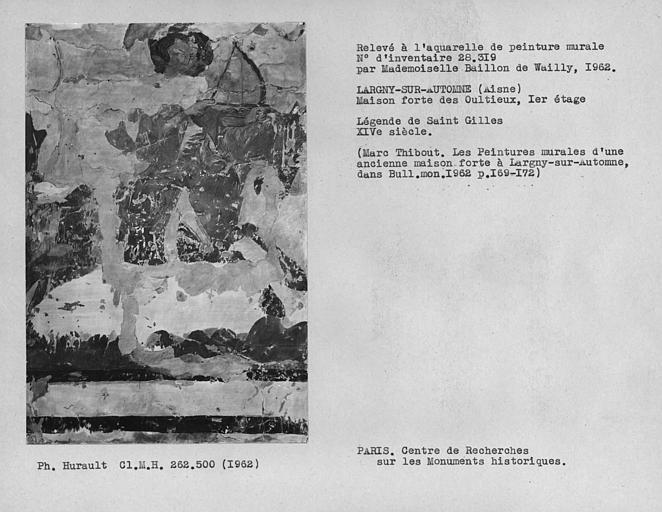 Relevé de la peinture murale de la légende de Saint-Gilles, cavalier tirant de l'arc