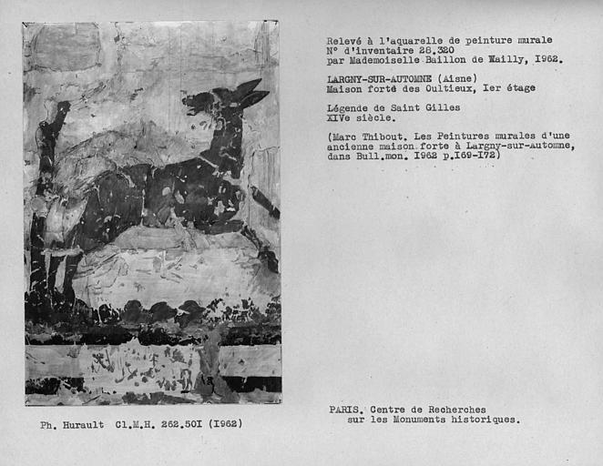 Relevé de la peinture murale de la légende de Saint-Gilles, biche blessée attaquée par un chien