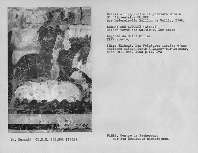 Relevé de la peinture murale de cavalier sonnant de l'olifant