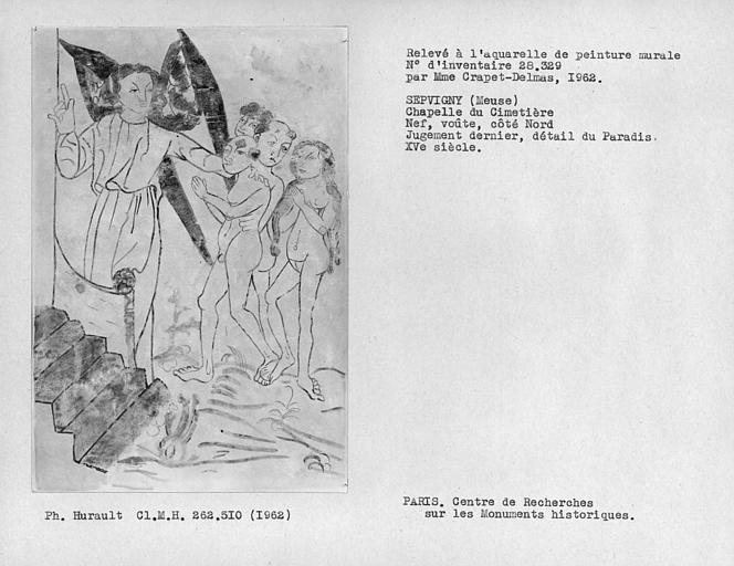 Relevé de la peinture murale de la voûte de la nef du côté nord, détail du Jugement dernier, anges accueillant les élus