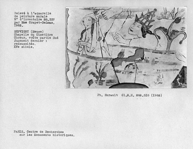 Relevé de la peinture murale de la voûte du choeur du côté nord, détail du Jugement dernier, Réssuscités dont un pape