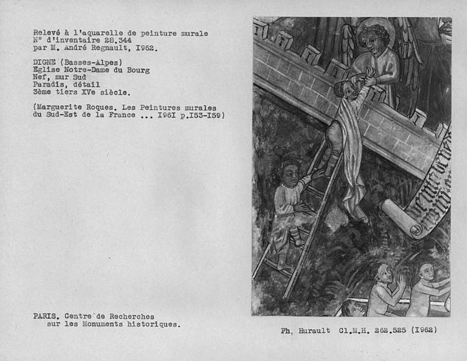 Relevé de peinture murale du mur sud de la nef, détail du Paradis, récompense des Vertus et anges accueillant les élus