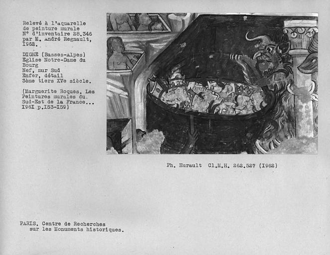 Relevé de peinture murale du mur sud de la nef, châtiment des Vices, supplice de l'enfer