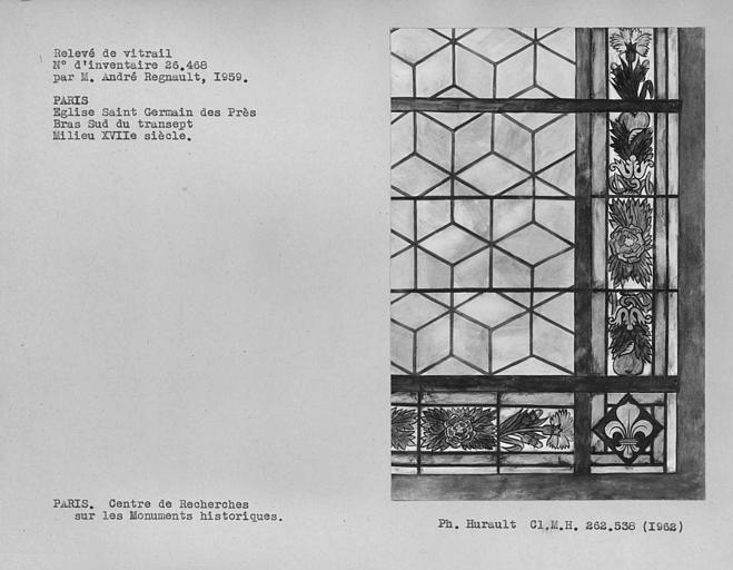 Relevé de vitrail peint dans le bras sud du transept