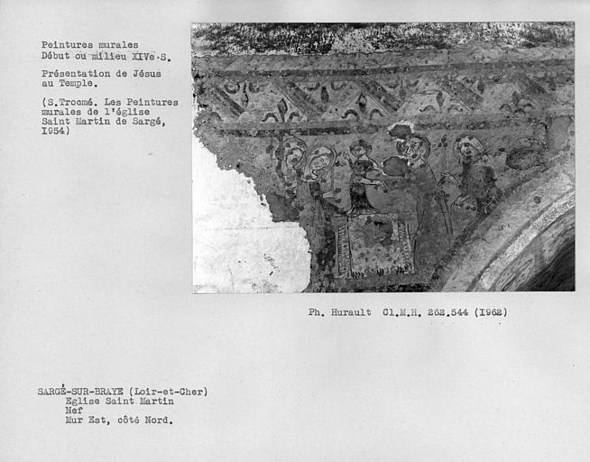 Peintures murales sur le mur est du côté nord de la nef, Présentation de Jésus au temple