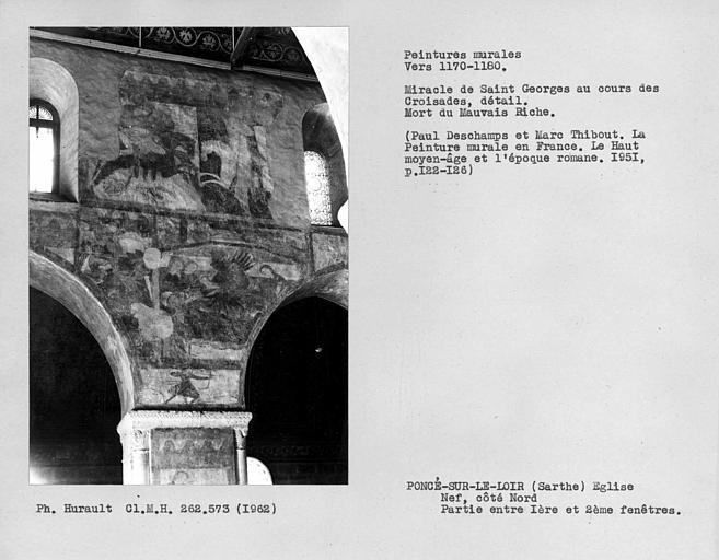 Ensemble entre la première et la deuxième fenêtre du côté nord de la nef, cavaliers et mort du mauvais riche