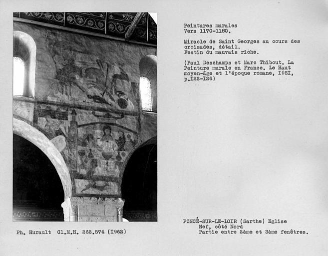Ensemble entre la deuxième et la troisième fenêtre du côté nord de la nef, scène de bataille et repos du mauvais riche