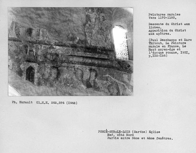 Partie entre la troisième et la quatrième fenêtre du côté nord de la nef, le Christ apparaissant aux apôtres au Cénacle