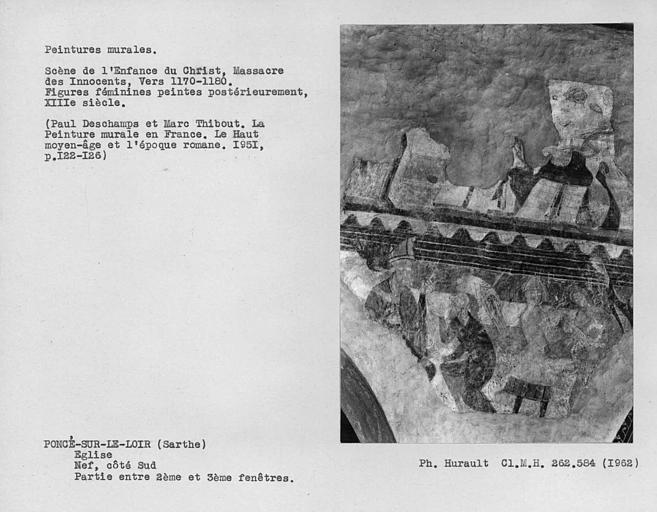 Partie entre la deuxième et la troisième fenêtre du côté sud de la nef, Massacre des Innocents et autre scène
