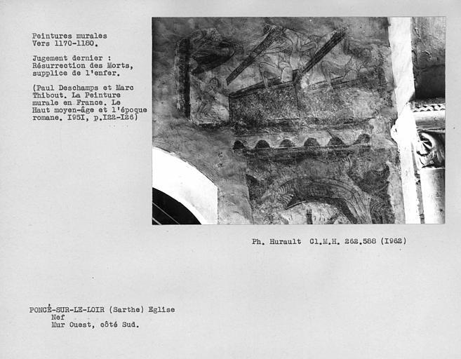 Parties inférieures au côté sud du mur ouest de la nef, détails du Jugement dernier