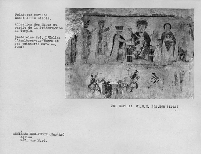 Peintures murales du mur nord de la nef, Adoration des Mages