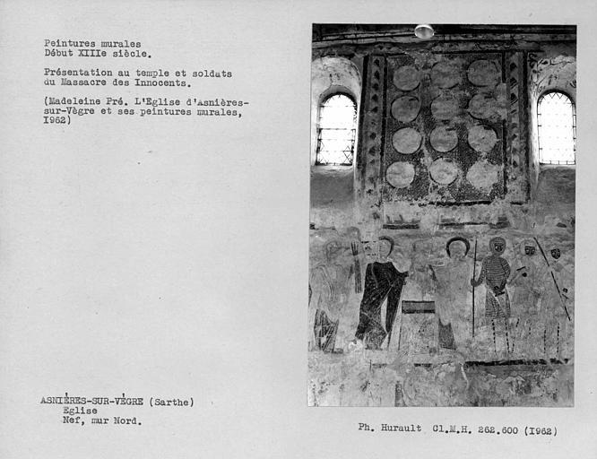 Peintures murales du mur nord de la nef, Présentation au Temple