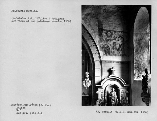 Peintures murales au côté sud du mur est de la nef, personnages dont Saint-Pierre