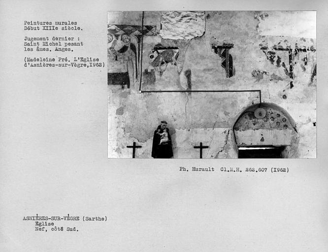 Peintures murales du mur sud de la nef, vestiges de scènes de la Passion