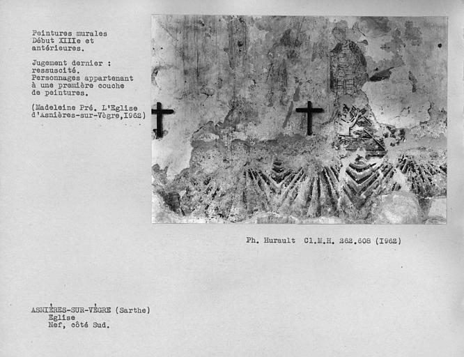 Peintures murales du mur sud de la nef, Saint-Michel et résurrection des morts