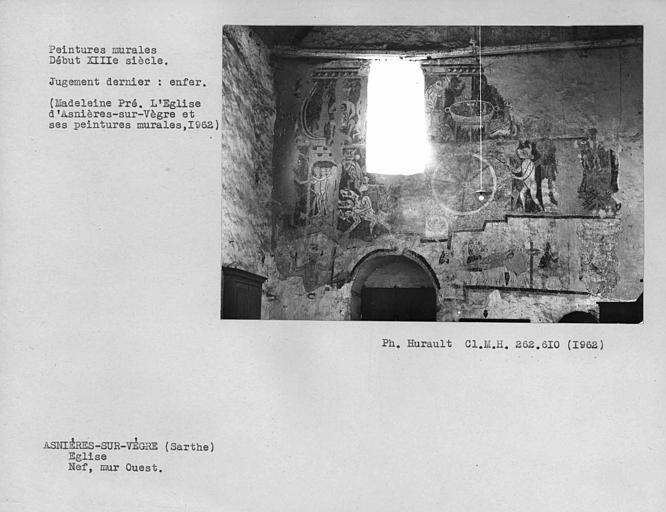 Peintures murales du mur ouest de la nef, ensemble de l'Enfer