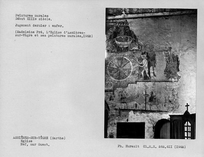 Peintures murales du mur ouest de la nef, détail de l'Enfer