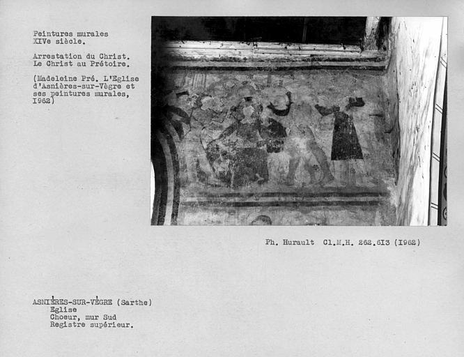 Peintures murales au registre supérieur du mur sud du choeur, scène de la Passion à droite de la première fenêtre