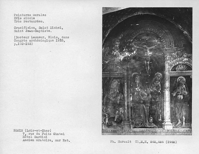 Ensemble de peintures murales du mur est de l'ancien oratoire, Crucifixion