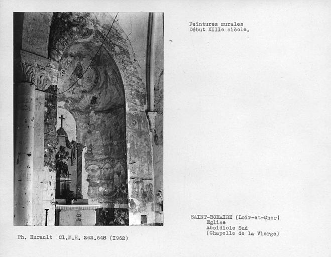 Chapelle de la Vierge, ensemble des peintures murales de l'absidiole sud
