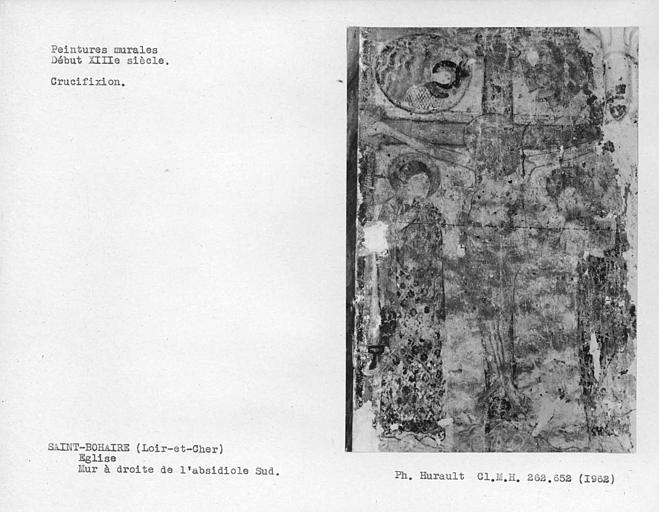 Détail de Crucifixion du mur est à droite de l'absidiole sud