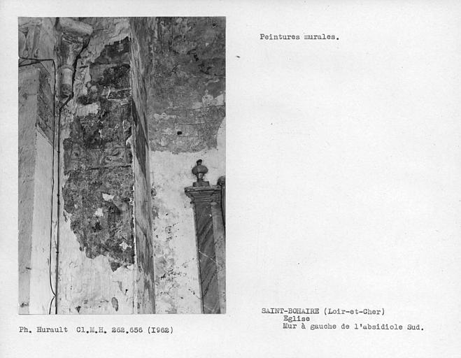 Ensemble des peintures murales du mur est à gauche de l'absidiole sud
