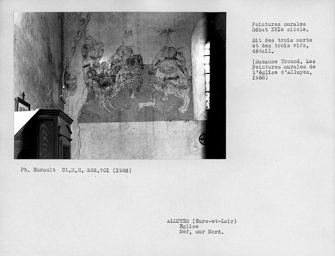 Extrémité ouest du mur nord de la nef dit (des 3 morts), vifs