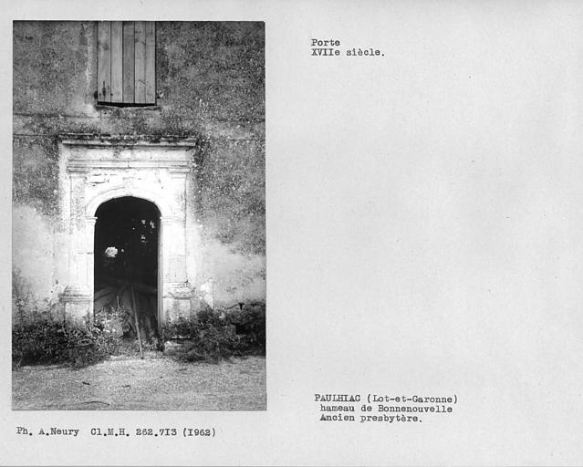 Porte de l'ancien presbytère