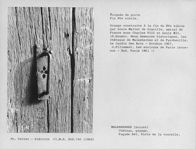 Poignée de porte en fer forgé de la porte de la tourelle au rez-de-chaussée de la grange aux Dîmes