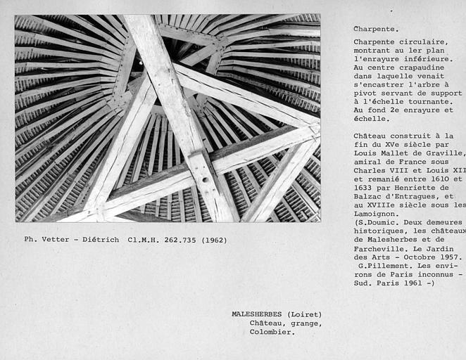Charpente circulaire du colombier, enrayure inférieure