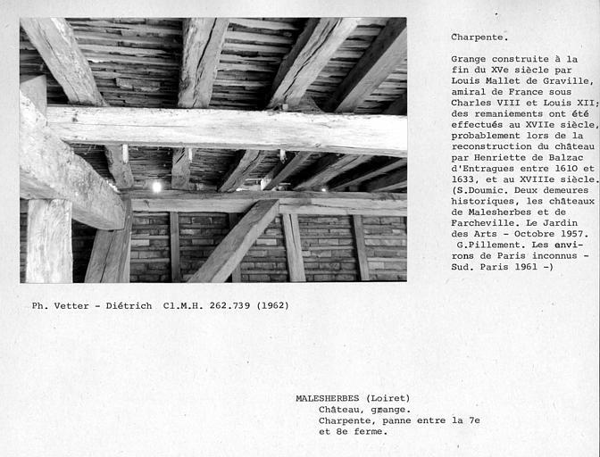 Charpente de la grange aux Dîmes, panne entre la 7ème et la 8ème ferme