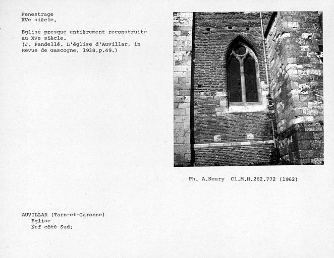 Fenestrage de la première fenêtre sud de la nef